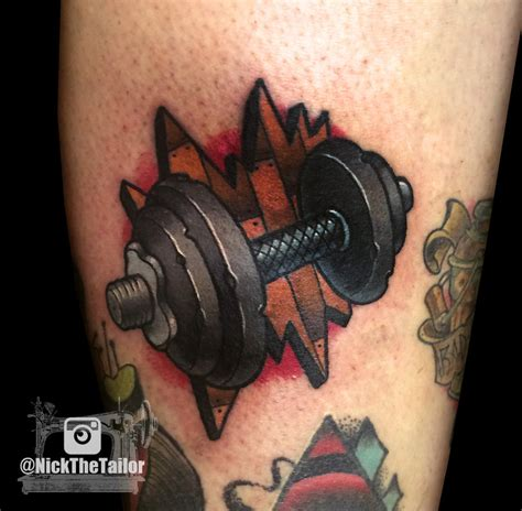 workout tattoos color neo traditional dumbell workout by