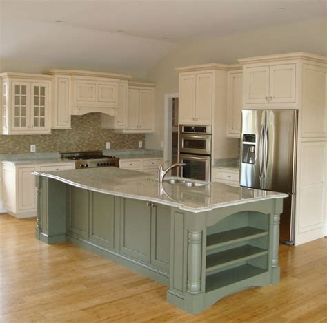 green kitchen islands inset white with glaze and green island