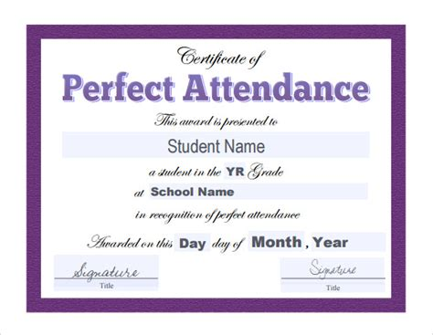 search results for perfect attendance certificate