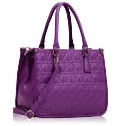 ls00215a purple three zipper quilted tote