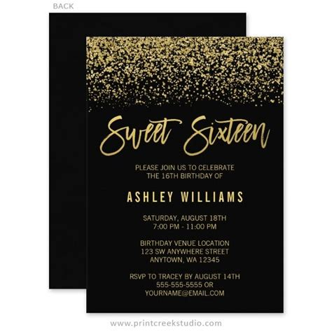 16th birthday invitations templates modern black faux gold glitter sweet 16 invitations