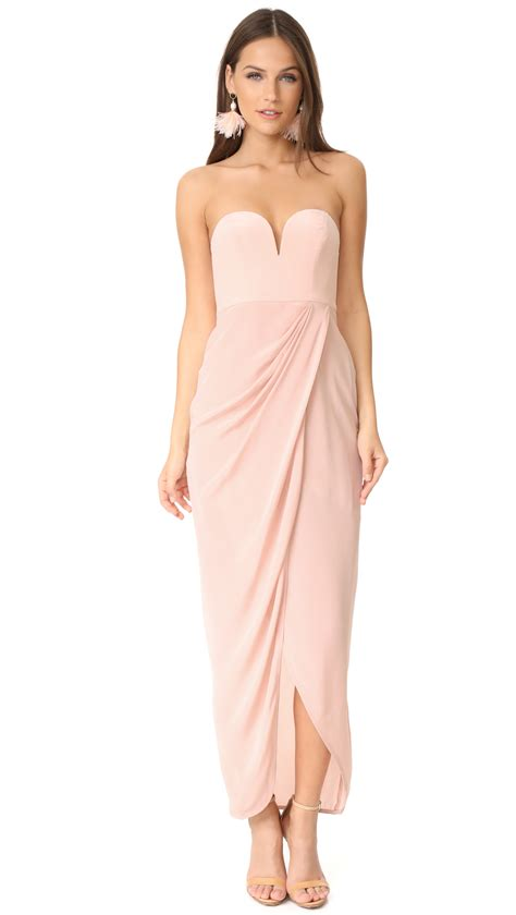 zimmermann draped dress zimmermann strapless drape maxi dress in rosewater