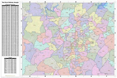 city of atlanta zip code map search the maptechnica printable map catalog maptechnica