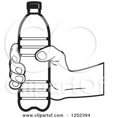 clipart of a black and white hand holding a water bottle
