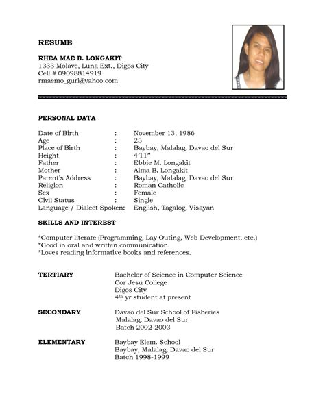 sle of personal information in resume resume ideas
