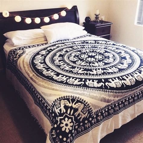 tapestry bedding black and white elephant mandala fringed tapestry indian