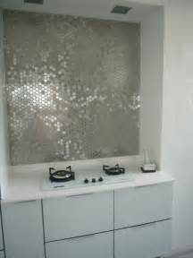 metallic mirrored tile backsplash interior design ideas