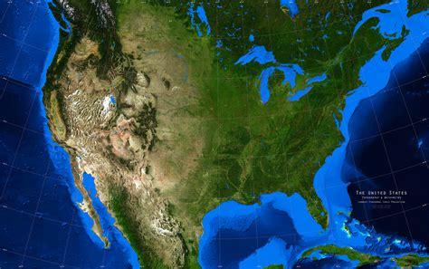 united states satellite image giclee print topography
