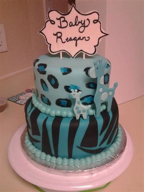 Blue Safari Baby Shower by Blue Safari Baby Shower Cake Cakecentral