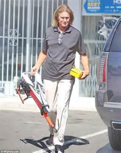 whats happening with bruce jenner bruce jenner s long locks look fried and faded as he steps