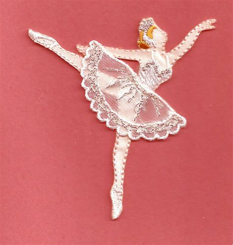 applique iron on ballet ballerina in white silver embroidered