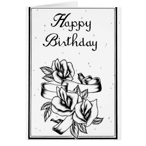 Birthday Card Black And White Happy Birthday Black And White Card Zazzle