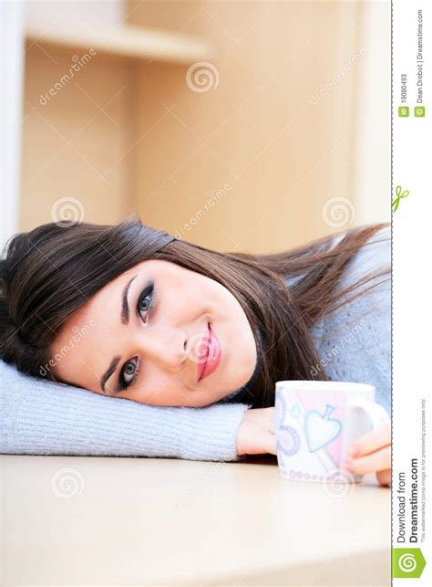 beautiful with cup at home stock photos