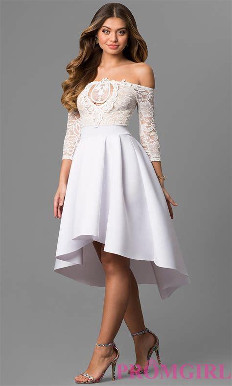 Dress White shoulder 3 4 sleeve high low dress promgirl