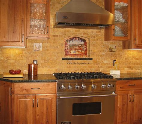 vineyard view kitchen tile backsplash with grapes vines