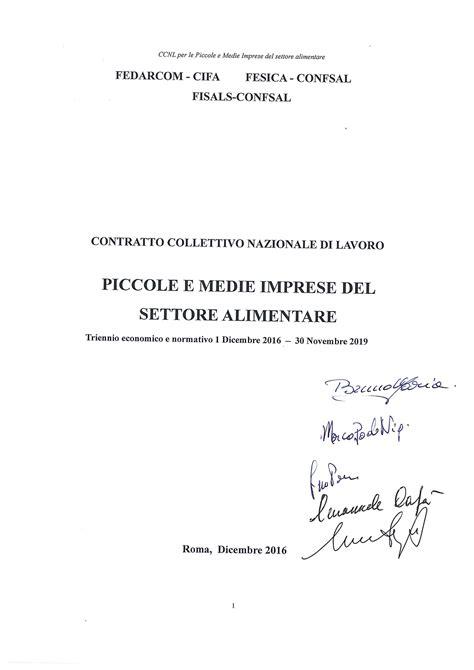contratto nazionale alimentare ccnl alimentari 2016 2017 2018 2019 lavoro archivio