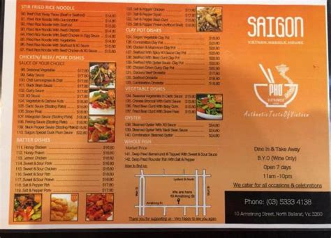 saigon noodle house menu take away menu picture of saigon vietnam noodle house ballarat tripadvisor