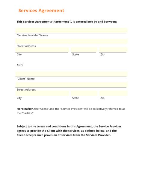 agreement template agreement for services template masir