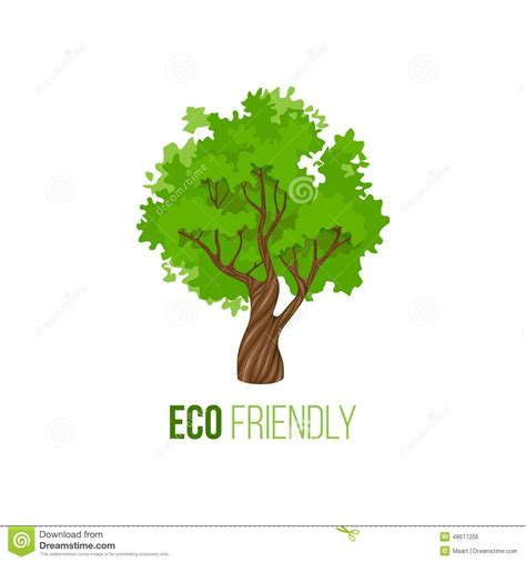 environmentally friendly trees eco friendly sign with green tree stock vector image 48617205