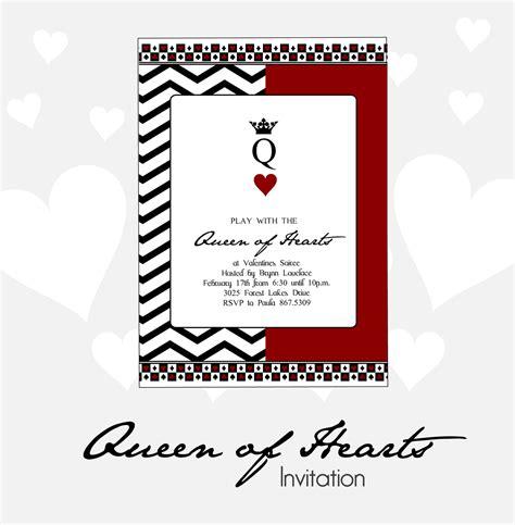 printable heart invitation queen of hearts valentines party invitation diy
