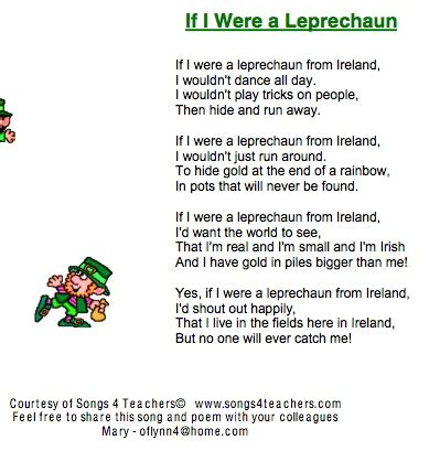s day lyrics st s day if i were a leprechaun song
