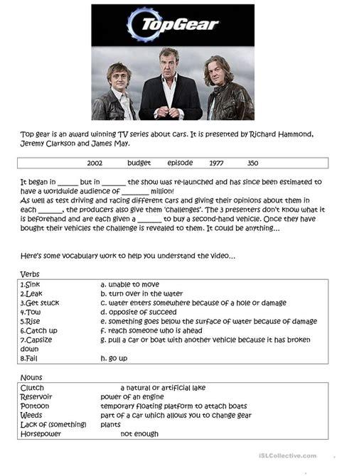 car boat challenge top gear top gear car boat challenge worksheet free esl printable