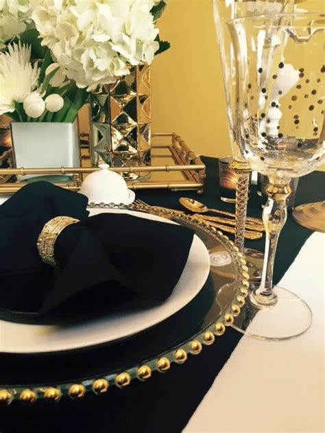 black white and gold table decor