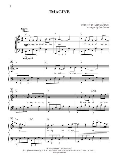 free printable sheet music for imagine by john lennon imagine easy piano by john lennon j w pepper sheet music