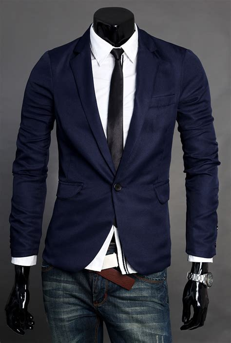 modern simple blue polyester blend blazer