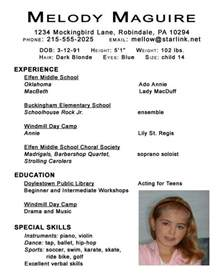 Child Acting Resume Sle by 1000 Images About Resume Exles On Theater Acting Resume Template And Tvs