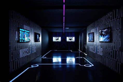 interior gleaming futuristic room with blue led lights also tron designs corian 174