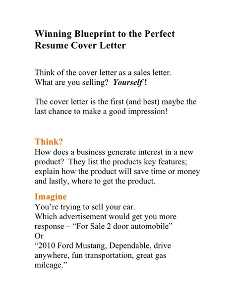 winning blueprint to the resume cover letter