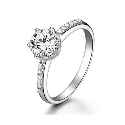 certified engagement ring on 9ct white gold