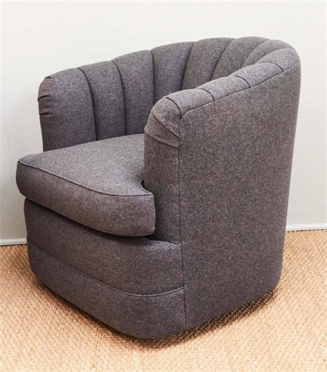swivel barrel chair fabric pair of barrel back swivel chairs for sale at 1stdibs
