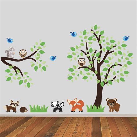 Woodland Animals Wall Stickers tree and branch with woodland animals wall sticker by