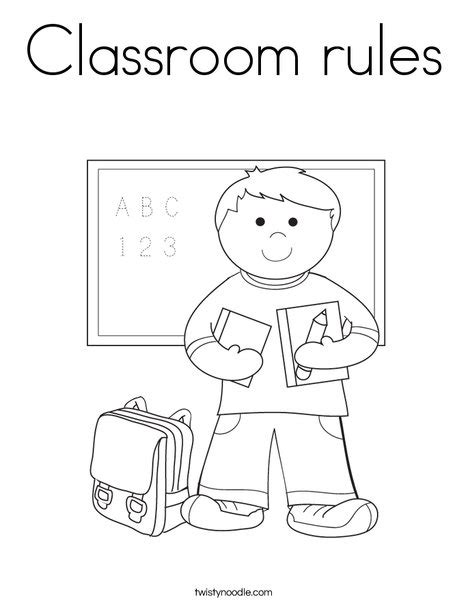 classroom rules coloring page twisty noodle