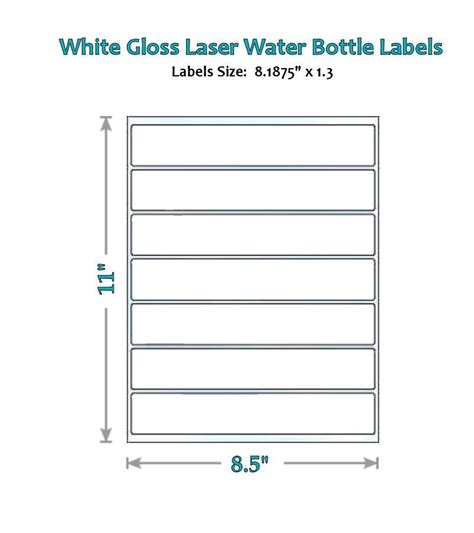 49 Blank Water Bottle Label Glossy Wrappers Party New Laser 16 9 Oz Ebay 8 Oz Water Bottle Label Template Free