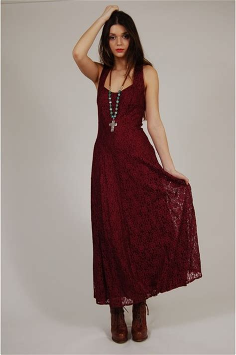 Bustier Zipper Polyester Maroon dresses quot vintage 80s burgundy lace maxi dress quot by