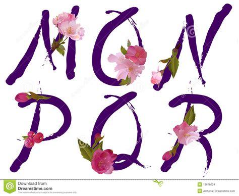 fiori con la q l alfabeto della sorgente con i fiori segna la m con