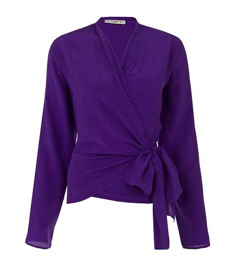 etro silk wrap blouse in purple lyst