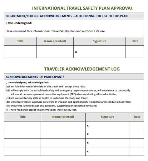 safety plan templates safety plan template 7 documents in pdf