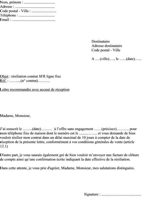Lettre De Resiliation Mobile Pour Depart A L Etranger Modele Lettre Resiliation Sfr Gratuit Document