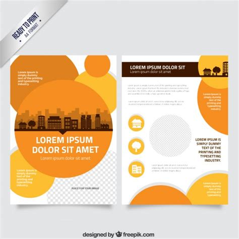 circle brochure template flyer template with orange circles vector free