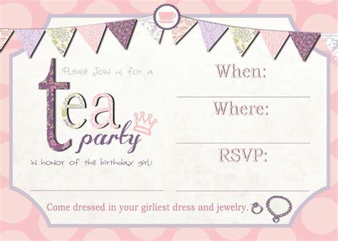 printable tea party invitations free birthday party invitations