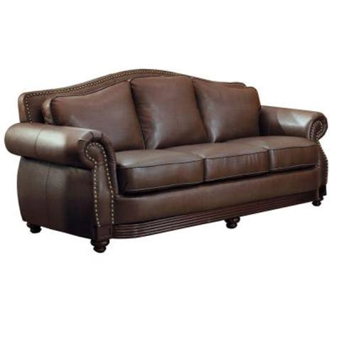 Nailhead Leather Sofa Homesullivan Kelvington Camelback Bonded Leather 1 Sofa With Nailhead Accent In Chocolate
