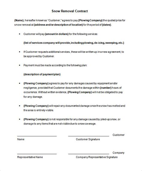 Snow Removal Contract Template 19 Snow Plowing Contract Templates Doc Pdf Free Premium Templates