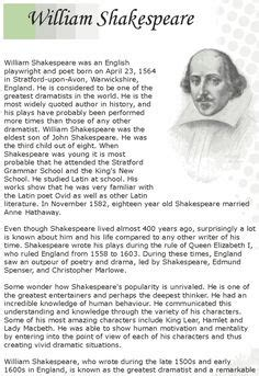 biography shakespeare english grade 7 reading lesson 12 biographies shakespeare