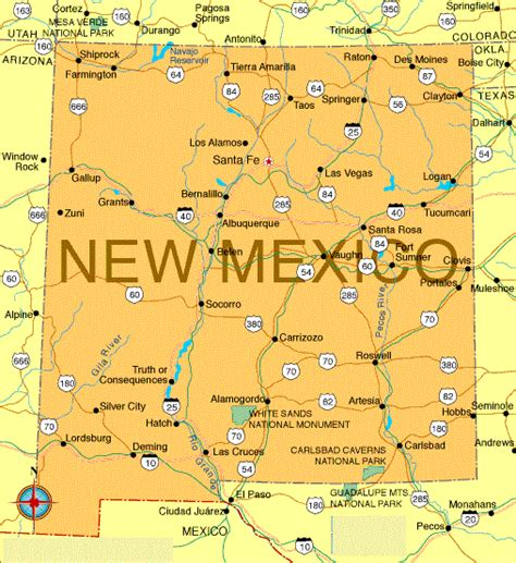 map of new mexico state of us