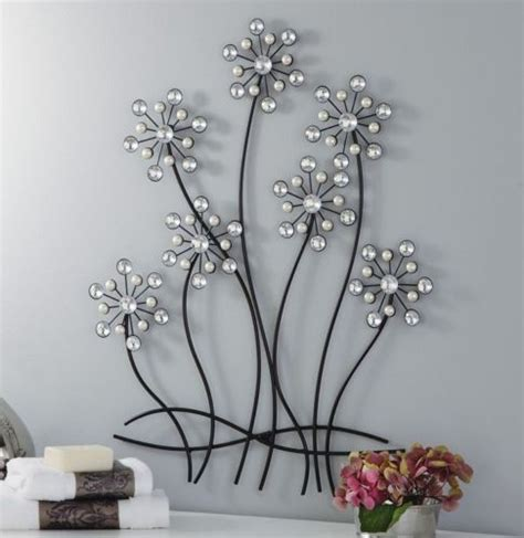 great metal wall decor flowers decorating ideas images in 3d decorative faux pearls gems acrylic crystal flower