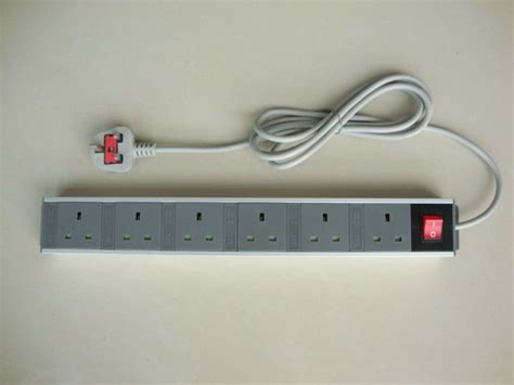 uk 6 outlet power bar with flat smart